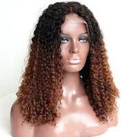 Wholesale virgin kinky curly ombre wig online - new arrival density two tone color human hair wig b ombre lace front wig virgin brazilian full lace wig