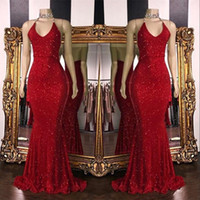 Wholesale halter mermaid dress resale online - Red Sparkling Sequins Mermaid Long Prom Dresses Halter Beaded Backless Sweep Train Formal Party Evening Gown