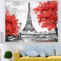Wholesale paris street paintings for sale - Group buy oil painting bedroom wall hanging cloth paris street look dorm apartment tapestry bed headboard tenture mural