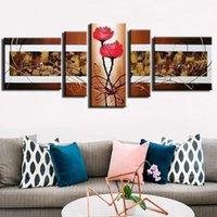 ingrosso fiori di mano immagine-100% dipinto a mano Modern Wall Art Fiori astratti Pittura ad olio su tela Wall Art Picture 5 pezzi / set Sala da pranzo Decor