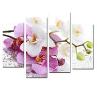 orkide kanvas panel toptan satış-4 Paneller Pembe Kelebek Orkide Çiçek Boyama Tuval Duvar Sanatı Modern Oturma Odası Ev Dekor için Withou Çerçeveli