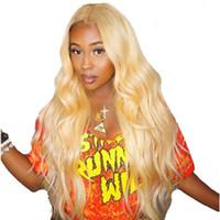 saç 24 sarışın toptan satış-613 Sarışın 360 Dantel Frontal Peruk Ön Koparıp Bebek Saç Ile vücut Dalga Tam 180% Yoğunluk Dantel Ön İnsan Saç peruk