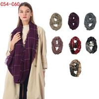 gravatas de inverno venda por atacado-Xadrez infinito cachecol 7 cores 40 * 85 cm inverno grade anel de verificação cachecol ao ar livre quente laço envolve gravatas 15 pcs ljjo7152