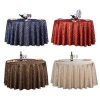 sehpa örtüsü toptan satış-1 adet Kırmızı / mavi / kahve 7 Renkler Avrupa Lüks Polyester Altın Yaprak Masa Örtüsü Için Yuvarlak Düğün Dekor Otel Masa Örtüsü Y19062103