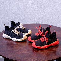 Wholesale woven bottom shoes resale online - children red bottom sneakers boys girls flying woven sport shoes Korean fashion casual shoes parent child luxury designer sneakers
