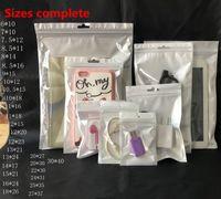 renkli iphone şarj cihazı kabloları toptan satış-Şeffaf + Beyaz İnci Plastik Poly OPP Fermuar Zip kilit Perakende Paketleri Takı gıda PVC plastik torba 12 * 20cm 10 * 18cm Çeşitli Boyutları Paketleme