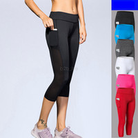 Wholesale black capri yoga pants for sale - Group buy Women Sport Yoga Pants Mesh pocket Capri Workout Running Exercise High Waist Elastic Quick Dry Casual Fitness Bottoms LJ JJA2516