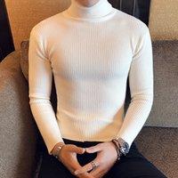 ingrosso colore maglione stretto-Gli uomini dimagriscono solido di colore maglione dolcevita maglione Due risvolto Linger Top camicia stretta invernali Mens Wear