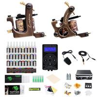 2 compass steel Tattoos Kits Machines Guns Best Power Supply 40 colors Ink Professional Tattoo Kit
