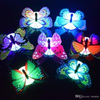 nachtlampen hochzeit großhandel-Schmetterlings-LED-Nachtlicht Lampe bunten Luminous Butterfly Home Hochzeit Deko Licht-Lampe mit Aufkleber führte Wand-Dekor KKA4395