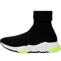 Wholesale blue black plastic bags for sale - Group buy Triple Black Green Designer Shoes Speed Trainer Oreo Flat Fashion Socks Boots Designer Men Women Sneakers With Box Dust Bag size