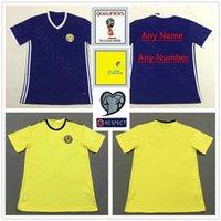 camisetas de fútbol amarillo marrón al por mayor-2018 Equipo nacional Escocia Camisetas 39 QSTURM 8 MARRÓN 11 RITCHIE 13 FORREST Camiseta de fútbol de fútbol azul hogar amarillo visitante personalizada azul