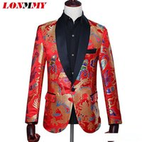 casaco casamento chinês homens venda por atacado-LONMMY Dragão homens ternos para casamento jaqueta mens blazer Slim Fit estilo chinês Casual Blazer homens estágio casaco masculino vermelho 2018