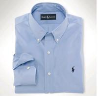 мужские рубашки поло оптовых-Новая мода поло футболка Оксфорд Мужские рубашки с длинным рукавом Бесплатная доставка Мужские рубашки высокого качества мужские деловые рубашки поло сорочка Homme 39