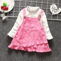 7c140fbf21fa good qulaity baby girls clothing set fashion floral princess dress 2pcs  tracksuit set t-shirt+bib overalls outfits toddle clothes