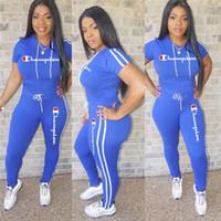bacak şortu kadın toptan satış-Şampiyonlar Mektup Kadın Eşofman Kapüşonlu T Gömlek + Pantolon Legging Yaz Kıyafetler Moda Kısa Kollu Joggers Set Spor Takım Elbise Hotselling A3195