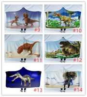 vellón de dinosaurio al por mayor-Dinosaurio de dibujos animados Los niños Manta con capucha linda mantas de los niños caliente suave del invierno Sherpa Fleece sofá edredón de la manta gruesa alfombra de Yoga 130 * 150cm A07