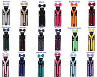 10set New Unisex Adult 3 Clips Suspenders Clip-on Y Back Elastic with Bow Tie Set Adjustable Braces Christmas Wedding gift 42 color