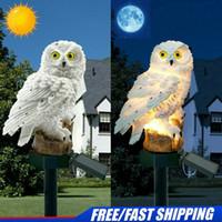 ingrosso ornamenti da giardino animale-Solar Garden Lights Gufo Ornamento Animal Bird Outdoor Decor LED Decor Sculpture