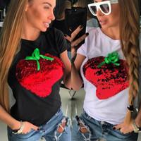 bling camisetas al por mayor-2018 Top Sale Fashion Women Bling Strawberry Lentejuelas Casual Short Sleeve Tops Shirt Ladies Loose T-shirt Cotton Tee
