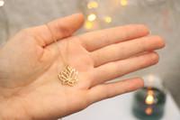 Wholesale tiny pendants resale online - Fashion Plant hollow Lotus pendant charm Necklace Tiny Buddha Flower Lotos petal pendant Necklace For Lady Women gift jewelry
