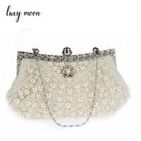 2fff089aef LUXY MOON pearls borsa da sera con perline elegante borsa da giorno fatta a  mano frizione borsa da sera borsa da sera bianca avorio caldo e borsa #  274798