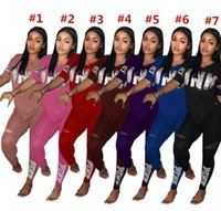 Wholesale sheer yoga pants online - Love Pink Women Tracksuit Sequins V Neck T Shirt Tops Pants Trousers Set PINK Letter Outfit Casual Tshirts Sportswear Clothes Suit