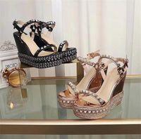 kız sandalet ayakkabı düğün toptan satış-Kadınlar Lüks Cataclou Mantar Kama Kırmızı Alt Sandal Tasarımcı Sandal Seksi Kız Yüksek Topuklu Parti Düğün Ayakkabı Kutusu ile ABD 35-41