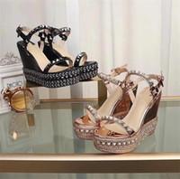 sandalias de fiesta beige al por mayor-Mujeres de lujo Cataclou corcho cuña sandalia inferior roja Diseñador sandalia Sexy Girls tacones altos zapatos de boda del partido con la caja EE. UU. 35-41