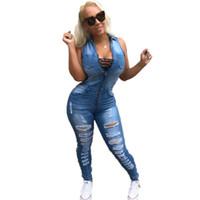 monos xl para mujer denim al por mayor-Mujeres sexy verano denim jumpsuit azul claro jeans kombinezony para mujer sin mangas lavado combinaison pantalon femme
