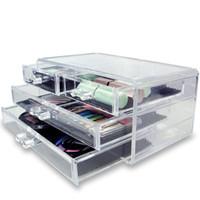 boîtes à bijoux en acrylique clair achat en gros de-Nouveauté 3-couche Transparent Acrylique Tiroirs Style Maquillage Cosmétiques Boîte À Bijoux Cas Affichage Bijoux