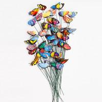 ingrosso farfalle da giardino-20pcs / pack 3D colorato farfalla decorativa su bastoni casa cantiere prato Flowerpot pianta decorazione giardino ornamento fai da te mestiere del prato