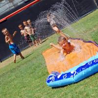 tobogán de agua para niños al por mayor-Centro de juego inflable Giant Surf 'N Slide de 4,8 m Tobogán acuático para niños Diversión de verano Patio trasero Piscina al aire libre Juegos Piscina Juegos