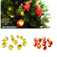 Wholesale Gold plated Christmas Apple Pendant Christmas Tree Apple Hanging Apple Decorations Mall Restaurant Xmas Tree Decor