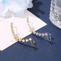 Wholesale metal jewelry pieces for sale - Group buy 1 piece fashion ear clip earring popular five pointed star retro metal ear hanging earrings personality single star ear clip jewelry