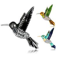 strass kolibri brosche großhandel-Heiße neue Art und Weise Westart-Legierungs-Kolibri-Rhinestones-Brosche-Kleidungs-Zusatz