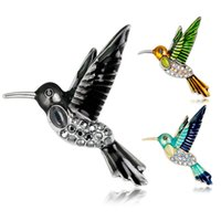 Wholesale rhinestone hummingbird brooch resale online - Hot New Fashion Western Style Alloy Hummingbird Rhinestones Brooch Pin Clothes Accessory