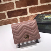 Wholesale lock backs resale online - 2019 Top Quality Celebrity design Letter Metal Buckle V shaped Wallet Card Back Cowhide Leather Man Woman Purse Clutch