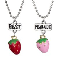 Wholesale jewelry strawberry pendant for sale - Group buy 2PCS Pair quot Best Friends quot Fruit Kids Necklaces Strawberry Pendant Kids Necklace For Children Friendship BFF Necklace Jewelry