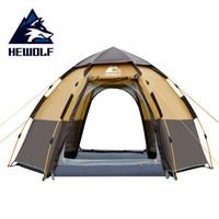 ingrosso tenda all'aperto di hewolf-Hewolf Quick Automatic Open Tent 5 Person Double Layer Grande famiglia da campeggio per attività ricreative all'aperto Tende Tenda da spiaggia