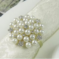 Wholesale western diamond rings resale online - Napkin ring high grade western restaurant hotel tableware silver plated with diamond pearl napkin buckle napkin ring