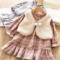 Wholesale outfits sets outwear for sale - Group buy Fall new girls outfits kids plaid ruffle ocllar flare sleeve falbala dress pompons lace up Bows fleece waistcoat outwear sets F9682