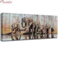 broderie d'éléphant achat en gros de-Gros diamant mosaïque abstraite éléphant peinture sur toile 3d diamant peinture kit de point de croix diamant broderie image cadeau d'artisanat
