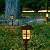 lampe à gazon en acier inoxydable achat en gros de-2019 New American LED jardinier en acier inoxydable en plein air imperméable solaire lampe de jardin lumière de jardin lumière de la lumière de la rue (pack de 6)