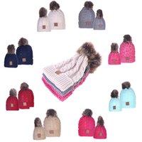chapéu do balde do inverno das meninas venda por atacado-Pai-filho crianças chapéus de inverno Mom Hat bebê Sólidos Pom Pom Beanie tricô Caps bebê chapéus balde meninas crianças cap MMA2938-18