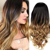 черный белый микс парик оптовых-Sexy Gradient Long Curly Hair Wigs Human Hair Mixed Colors high temperature silk Wig for Black White women 2U81221