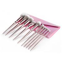corar sacos cor de rosa venda por atacado-10 PCS Rosa Maquiagem pincéis lidar com Maquiagem Profissional Escova Set Blush Sombra de Olho Maquiagem Escova com saco de 3