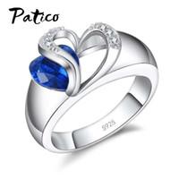 zirkonia verlobungsring sterling silber großhandel-PATICO Blue CZ Kristall 925 Sterling Silber Fingerring Herz Zirkonia Stein für Frauen Engagement Jubiläum Schmuck Geschenke