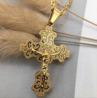 titan jesus kreuz anhänger großhandel-Jesus Kreuzigung Kreuz Anhänger Halskette für Frauen / Männer 18 Karat Vergoldet / Platin / Schwarz Gun Überzogene Mode Religiöse Schmuck Geschenk