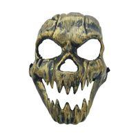 Wholesale metal skull masks resale online - Halloween Metal Plastic Skull Mask Gold Silver High Quality Full Face Skull Mask Party Supplies Horror Props